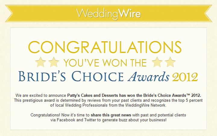 The Brides Choice Awards 2012 Patty 39s Cakes Yaaaaaaahooooo