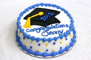 Graduation Cake with Grad Cap, Round, Blue