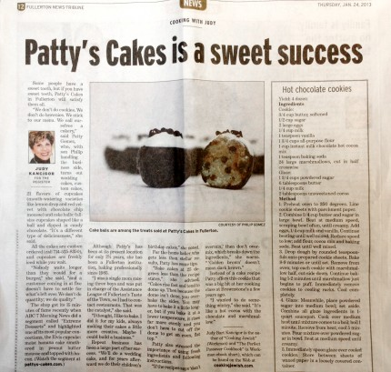 Patty's Cakes in the Fullerton News Tribune