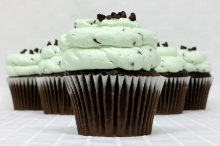 Chocolate Mint Chip Mousse Cupcake