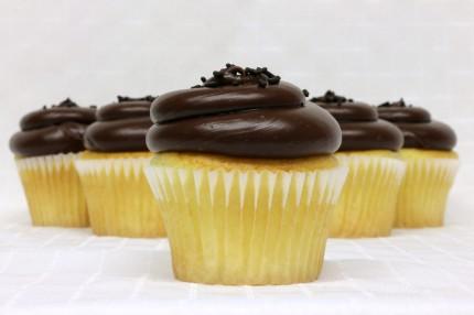 Gluten-Free White with Chocolate Fudge Cupcake