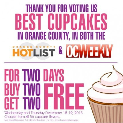 Thank you for voting us BEST CUPCAKES in Orange County, in both the OC Hotlist and OC Weekly