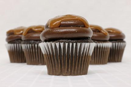 Gluten- Free Chocolate Caramel Salty Cupcake